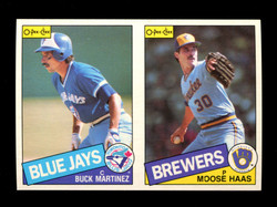 1985 BUCK MARTINEZ MOOSE HAAS O-PEE-CHEE 2 CARD UNCUT PANEL