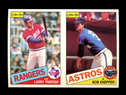 1985 LARRY PARRISH BOB KNEPPER O-PEE-CHEE 2 CARD UNCUT PANEL