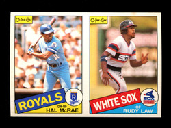 1985 HAL MCRAE RUDY LAW O-PEE-CHEE 2 CARD UNCUT PANEL