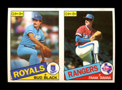 1985 BUD BLACK FRANK TANANA O-PEE-CHEE 2 CARD UNCUT PANEL