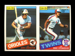 1985 JOHN LOWENSTEIN MIKE STENHOUSE O-PEE-CHEE 2 CARD UNCUT PANEL