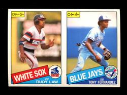 1985 RUDY LAW TONY FERNANDEZ O-PEE-CHEE 2 CARD UNCUT PANEL