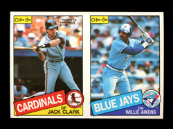 1985 JACK CLARK WILLIE AIKENS O-PEE-CHEE 2 CARD UNCUT PANEL