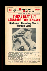 1960 NU-CARD BASEBALL HI-LITES #46 TIGERS BEAT OUT SENATORS FOR PENNANT