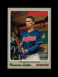 2019 FRANCISCO LINDOR TOPPS HERITAGE HIGH REAL ONE AUTO #/70 RED *1492