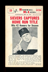 1960 NU BASEBALL HI-LITE #23 SIEVERS CAPTURES HOME RUN TITLE *130