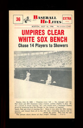 1960 NU BASEBALL HI-LITES #36 UMPIRES CLEAR WHITE SOX BENCH *155