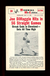 1960 NU BASEBALL HI-LITES #38 DIMAGGIO HITS 56 STRAIGHT GAMES *156