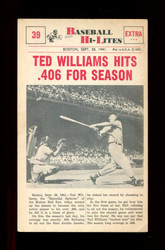 1960 NU BASEBALL HI-LITES #39 TED WILLIAMS HITS .406 FOR SEASON *157