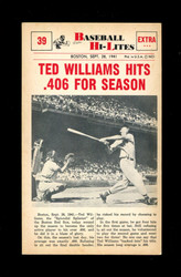 1960 NU BASEBALL HI-LITES #39 TED WILLIAMS HITS .406 FOR SEASON *160