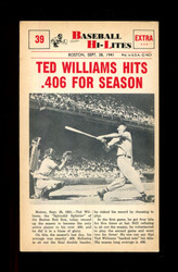 1960 NU BASEBALL HI-LITES #39 TED WILLIAMS HITS .406 FOR SEASON *161