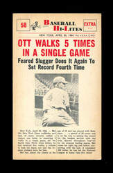 1960 NU BASEBALL HI-LITES #58 OTT WALKS 5 TIMES IN A SINGLE GAME *175