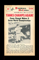 1960 NU BASEBALL HI-LITES #61 YANKS CHAMPS AGAIN! *178