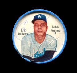 1962 JOHN PODRES SHIRRIFF COINS #172 DODGERS (CHIPPED EDGE DAMAGE) *7306