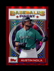 2020 AUSTIN NOLA FINEST FLASHBACKS #132 RED REFRACTOR #/5 MARINERS *R1678