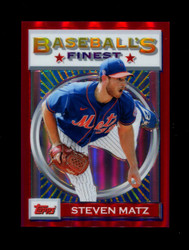 2020 STEVEN MATZ FINEST FLASHBACKS #164 RED REFRACTOR #/5 METS *R1877