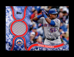 2018 YOENIS CESPEDES TOPPS HOLIDAY GU RELIC METS *1918