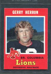 1971 GERRY HERRON OPC CFL #40 O PEE CHEE COLUMBIA #2856