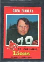 1971 GREG FINDLAY OPC CFL 342 O PEE CHEE COLUMBIA #2854