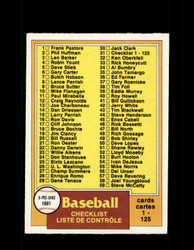 1981 CHECKLIST OPC #31 O-PEE-CHEE BASEBALL GRAY BACK *R4221