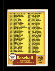 1981 CHECKLIST OPC #241 O-PEE-CHEE BASEBALL GRAY BACK *R3575