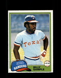 1981 BILLY SAMPLE OPC #283 O-PEE-CHEE RANGERS GRAY BACK *R3190