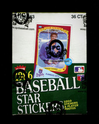 1986 FLEER BASEBALL STAR STICKERS WAX BOX - FROM A SEALED CASE
