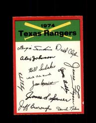 1974 TEXAS RANGERS OPC TEAM CHECKLIST O-PEE-CHEE *R1523