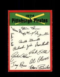 1974 PITTSBURGH PIRATES OPC TEAM CHECKLIST O-PEE-CHEE *R3928