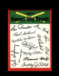 1974 KANSAS CITY ROYALS OPC TEAM CHECKLIST O-PEE-CHEE *R4066