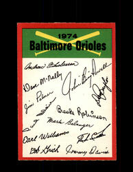 1974 BALTIMORE ORIOLES OPC TEAM CHECKLIST O-PEE-CHEE *R4124