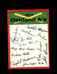 1974 OAKLAND ATHLETICS OPC TEAM CHECKLIST O-PEE-CHEE *R4061