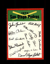 1974 SAN DIEGO PADRES OPC TEAM CHECKLIST O-PEE-CHEE *R1086