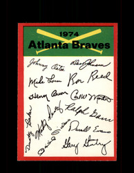 1974 ATLANTA BRAVES OPC TEAM CHECKLIST O-PEE-CHEE *5810