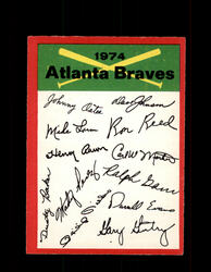 1974 ATLANTA BRAVES OPC TEAM CHECKLIST O-PEE-CHEE *8834