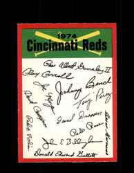 1974 CINCINNATI REDS OPC TEAM CHECKLIST O-PEE-CHEE *2399