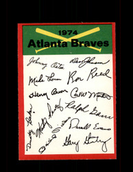 1974 ATLANTA BRAVES OPC TEAM CHECKLIST O-PEE-CHEE *R1988