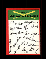 1974 ATLANTA BRAVES OPC TEAM CHECKLIST O-PEE-CHEE *1794