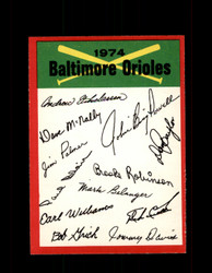 1974 BALTIMORE ORIOLES OPC TEAM CHECKLIST O-PEE-CHEE *2745