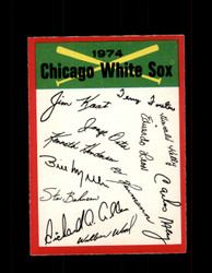 1974 CHICAGO WHITE SOX OPC TEAM CHECKLIST O-PEE-CHEE *1217
