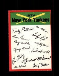 1974 NEW YORK YANKEES OPC TEAM CHECKLIST O-PEE-CHEE *3781