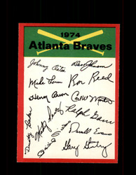 1974 ATLANTA BRAVES OPC TEAM CHECKLIST O-PEE-CHEE *R4858