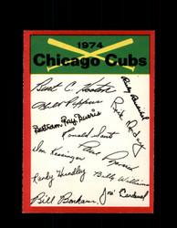 1974 CHICAGO CUBS OPC TEAM CHECKLIST O-PEE-CHEE *R4999