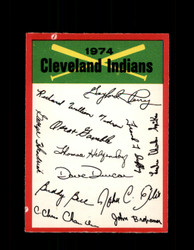 1974 CLEVELAND INDIANS OPC TEAM CHECKLIST O-PEE-CHEE *R5716