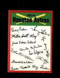 1974 HOUSTON ASTROS OPC TEAM CHECKLIST O-PEE-CHEE *R5717