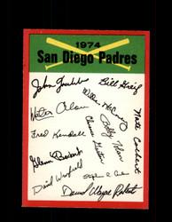 1974 SAN DIEGO PADRES OPC TEAM CHECKLIST O-PEE-CHEE *R5797
