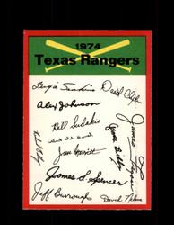 1974 TEXAS RANGERS OPC TEAM CHECKLIST O-PEE-CHEE *G5866