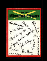 1974 MILWAUKEE BREWERS OPC TEAM CHECKLIST O-PEE-CHEE *G6566