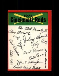 1974 CINCINNATI REDS OPC TEAM CHECKLIST O-PEE-CHEE *R4405