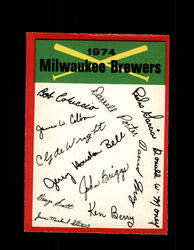 1974 MILWAUKEE BREWERS OPC TEAM CHECKLIST O-PEE-CHEE *8711